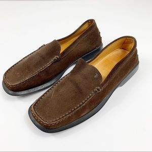 TODS Brown Suede Slip On Loafers Flats